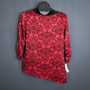 Style & Co Top Shirt Size Petite Medium PM Red